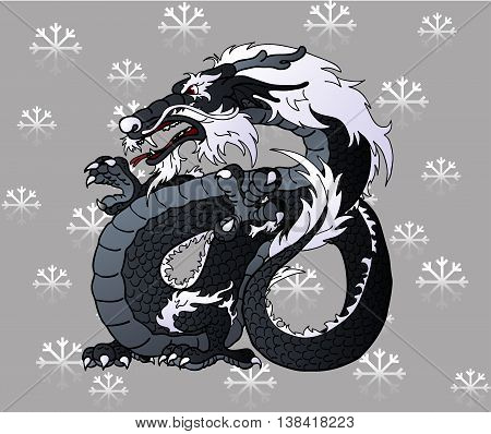Strong black water Asian chinese dragon on snowflakes grey background