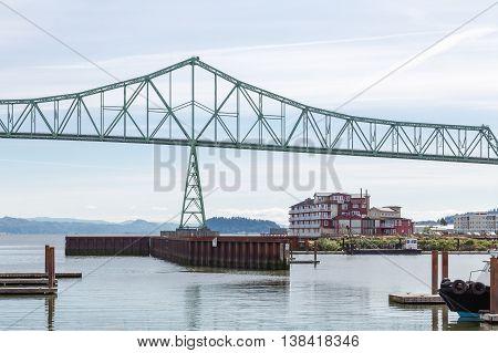 Green Metal Bridge Over River in Astoria Oregon