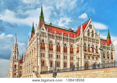 Budapest, Hungary-may 02, 2016: People Near Hungarian Parliament Close-up. Budapest. One Of The Most