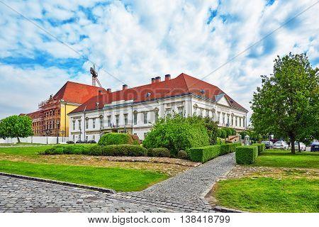 Sandor Palace Budapest Near Budapest Royal Castle At Day  Time. Hungary.
