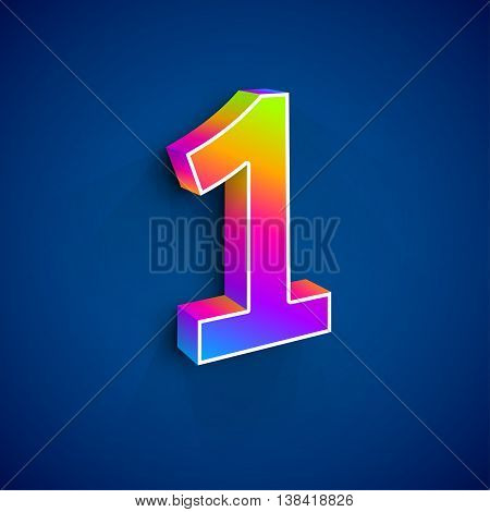 3d Number One. Colorful figure 1 on Blue Background