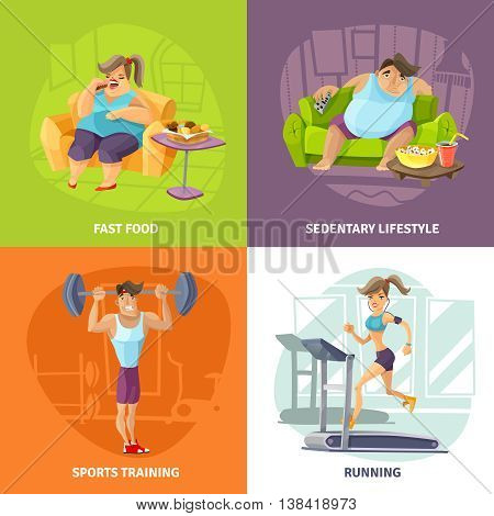 Obesity and health concept icons set with sedentary lifestyle and sports training symbols cartoon isolated vector illustration