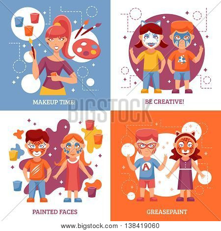 Children With Painted Faces Concept. Party With Greasepaint Vector Illustration. Painted Faces Flat Icons Set. Greasepaint For Kids Design Set. Makeup For Children Isolated Elements.