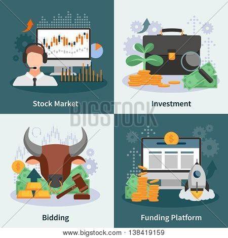 Investment and trading 2x2 design concept with broker bidding market rate venture capital images flat vector illustration