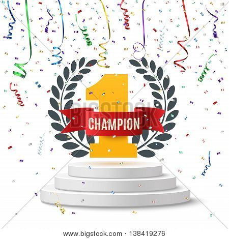 Champion, number one background with red ribbon, olive branch and confetti on round pedestal isolated on white. Poster or brochure template. Vector illustration.