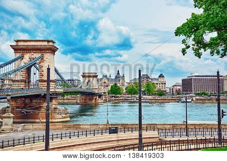Budapest, Hungary-may 02, 2016: Szechenyi Chain Bridge-one Of The Most Beautiful Bridges Of Budapest