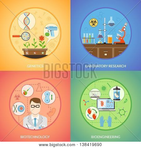 Biotechnology 2x2 design concept set of genetics bioengineering and laboratory research icons collection flat vector illustration