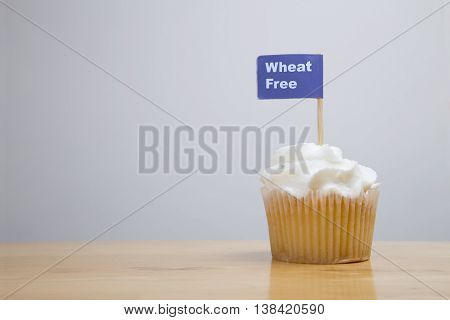 Wheat Free Cupcake On A Wooden Table