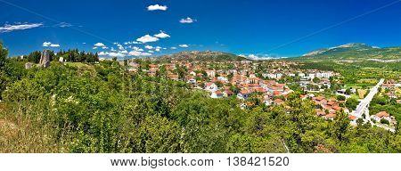 Town of Drnis and Dalmatian inland panorama Dalmatia Croatia