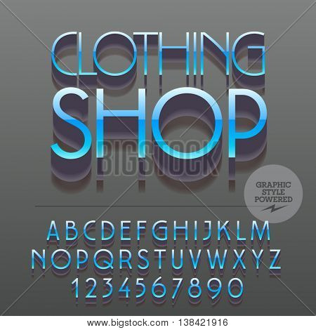 Set of glossy metallic alphabet letters, numbers and punctuation symbols. Vector reflective logo with text Clothing shop. File contains graphic styles
