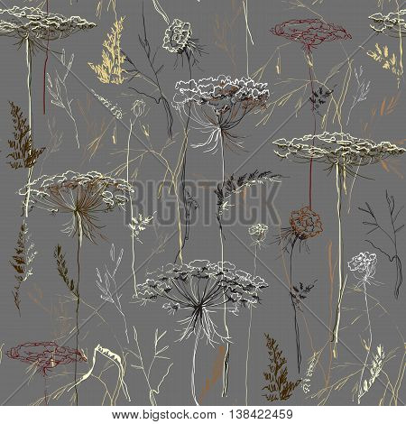 Hand drawn herbal seamless pattern. Yellow brown autumn silhouettes of meadow herbs and grass on gray background. For bio products package botany design. Botanical vector illustration stock vector.
