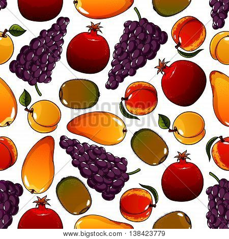 Vegetarian fruits seamless pattern isolated on white with mature pear and ripe garnet or pomegranate, juicy apricot and tasty kiwi, bunch or cluster of grape. Ingredients for vegetarian salad or meal. Can be used for agricultural or dessert theme