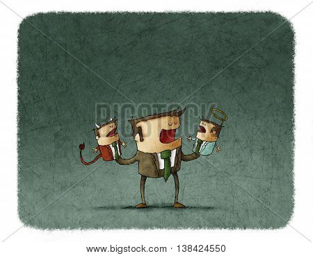 Conceptual illustration of businessman talking to angel and devil puppets.