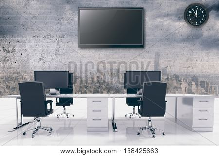 Office furniture against image of a wall