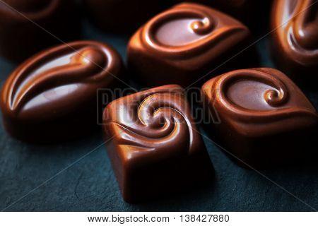 Chocolate Candy Cocoa. Assortment of fine chocolates close up. Luxury chocolate box
