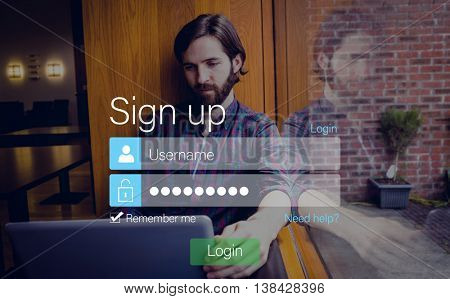 Login screen superimposed on hipster man with laptop