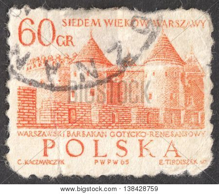 MOSCOW RUSSIA - CIRCA JANUARY 2016: a post stamp printed in POLAND shows the the Barbican Gothic-Renaissance castle the series