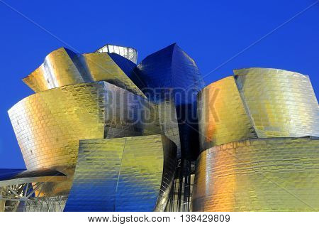 Bilbao, Spain - july 19, 2008: Details of the architecture of the museum of the city of Bilbao