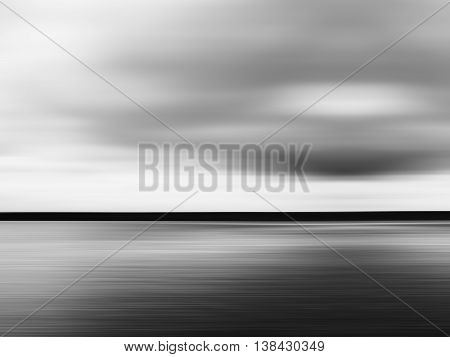 Horizontal Vivid Black And White Minimal Landscape Abstraction B