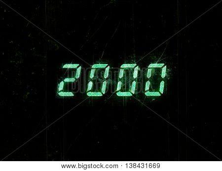 Horizontal green digital 2000 millenium display clock dust particles memories background backdrop