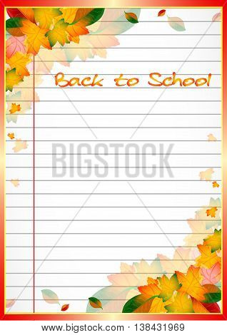 School notebook background with yellow and orange autumn leaves on page of copybook in line. Back to school. Vector illustration