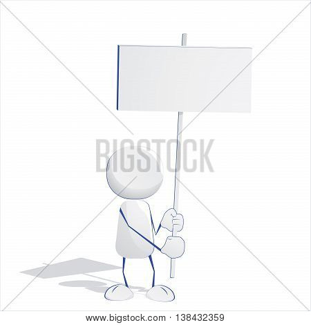 Abstract human man icon holding empty billboard