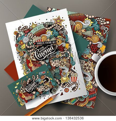 Cartoon cute colorful vector hand drawn doodles cinema movie corporate identity set. Templates design of business card, flyers, posters, papers on the table