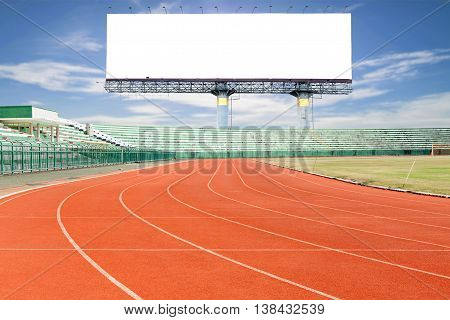 Running track with Empty white digital billboard screen for advertising in sport stadium