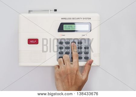 Hand push button of home security system