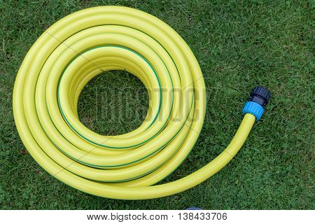 An Yellow hose-pipe on a green grass