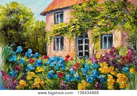 oil painting landscape house in the flower garden abstract impressionism