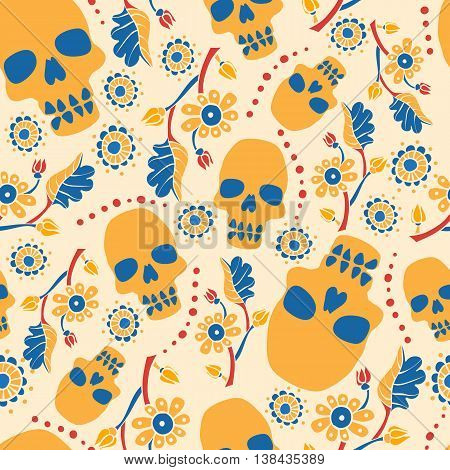 Colorful seamless pattern with flowers and skulls. Beige background. Stock vector illustration.