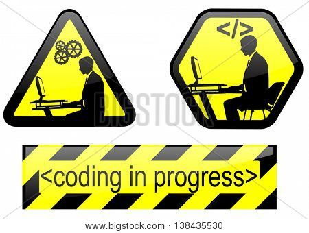 coding in progress signs - vector