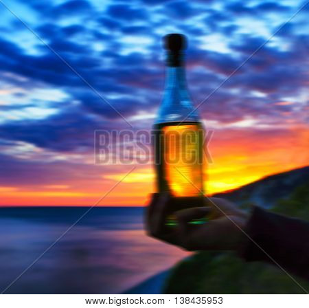 Square vivid Russian moonshine ocean beach abstraction background backdrop