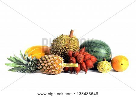 Group of Asian or Tropical fruit isolate on white background Thailand