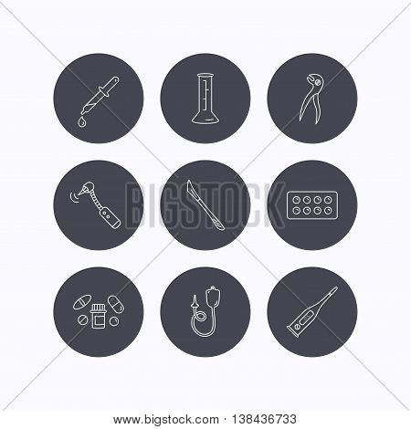 Thermometer, pills and dental pliers icons. Tablets, drilling tool and beaker linear signs. Enema, scalpel and pipette drop flat line icons. Flat icons in circle buttons on white background. Vector