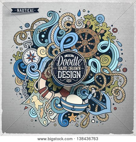 Nautical cartoon vector hand drawn doodle illustration. Artistic detailed design with lot of objects and symbols. Square marine vector grunge composition