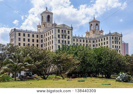Exterior view of Hotel Nacional one of the main hotels in Havana the capital of Cuba