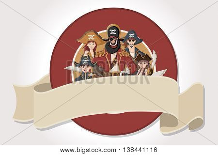 Vector banners and labels backgrounds with cartoon pirates with swords. Design text ribbons.