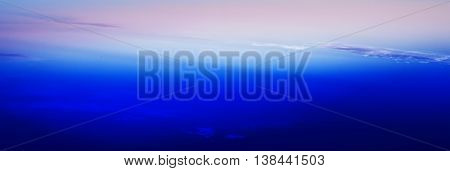 Horizontal wide blue vivid minimal clouds stratosphere background backdrop