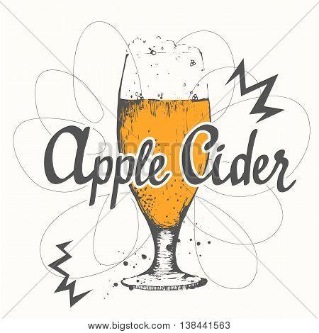 Drink menu. Vector illustration with glass of cider. Glass of cider in sketch style for pub menu. Vector illustration with alcoholic beverages. Cider labels.