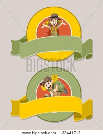 Vector banners and labels backgrounds with cartoon kids in explorer outfit. Design text ribbons.