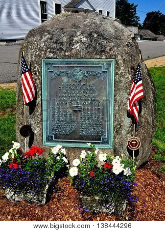Rindge New Hampshire - July 12 2013: World War I Memorial dedicated to the men of Rindge who perished during the 1917-18 Great War