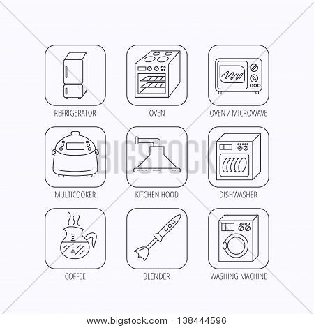 Microwave oven, washing machine and blender icons. Refrigerator fridge, dishwasher and multicooker linear signs. Coffee icon. Flat linear icons in squares on white background. Vector poster