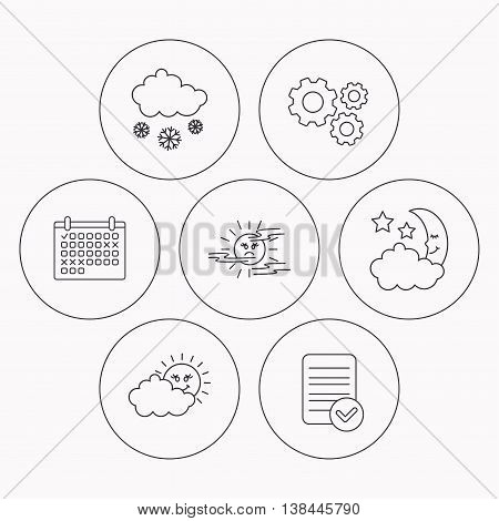 Weather, mist and snow icons. Moon night, clouds linear signs. Check file, calendar and cogwheel icons. Vector
