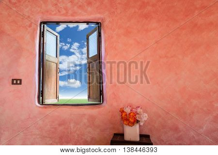 Wide open wooden window with scenery view background