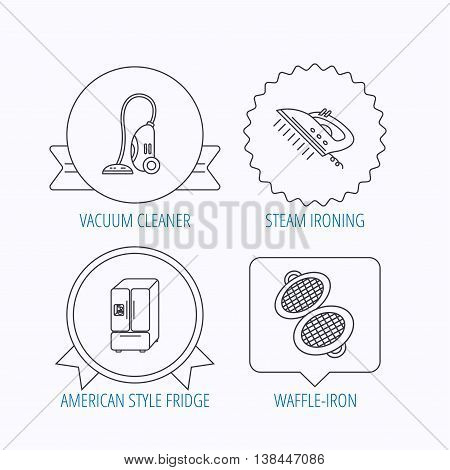 Vacuum cleaner, steam ironing and waffle-iron icons. American style fridge linear sign. Award medal, star label and speech bubble designs. Vector