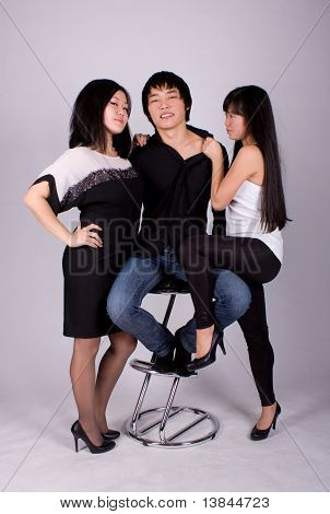 Two Asian Girl And One Man