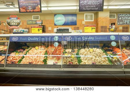 CHICAGO, IL - CIRCA MARCH, 2016: inside Jewel-Osco store. Jewel-Osco is a supermarket chain headquartered in Itasca, Illinois, a Chicago suburb.
