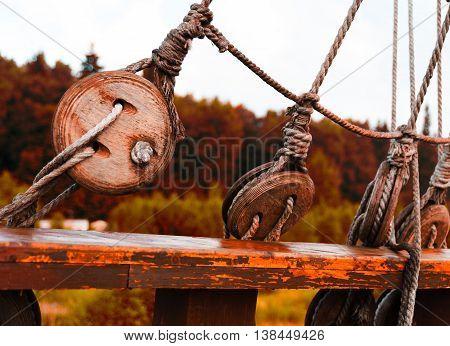 Horizontal vintage sepia strops on pirate ship background